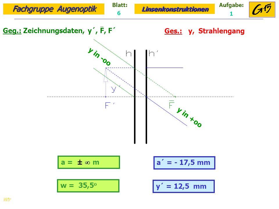 Fachgruppe Augenoptik Linsenkonstruktionen Blatt:Aufgabe: Wtr a = ± m Geg.: Zeichnungsdaten, y´, F, F´ Ges.: y, Strahlengang a´ = - 17,5 mm 6 1 y´ = 12,5 mm w = 35,5 o y in -oo y in +oo