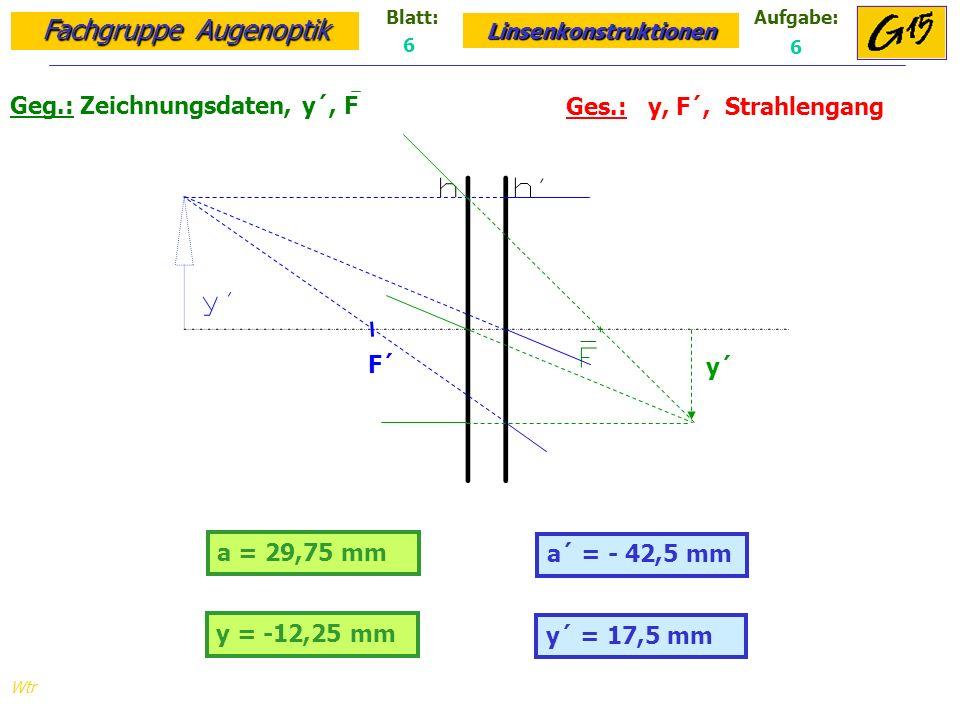 Fachgruppe Augenoptik Linsenkonstruktionen Blatt:Aufgabe: Wtr a = 29,75 mm Geg.: Zeichnungsdaten, y´, F Ges.: y, F´, Strahlengang a´ = - 42,5 mm 6 6 y = -12,25 mm y´ = 17,5 mm y´ F´
