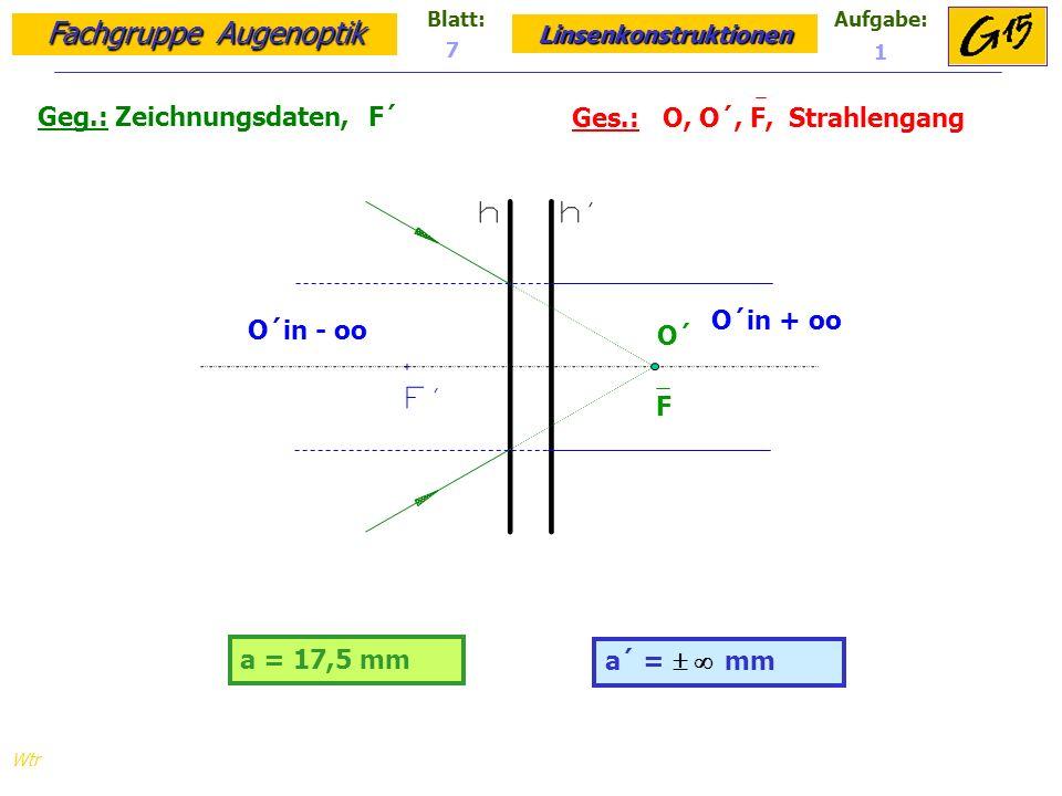 Fachgruppe Augenoptik Linsenkonstruktionen Blatt:Aufgabe: Wtr a = 17,5 mm Geg.: Zeichnungsdaten, F´ Ges.: O, O´, F, Strahlengang a´ = mm 7 1 O´ F O´in - oo O´in + oo