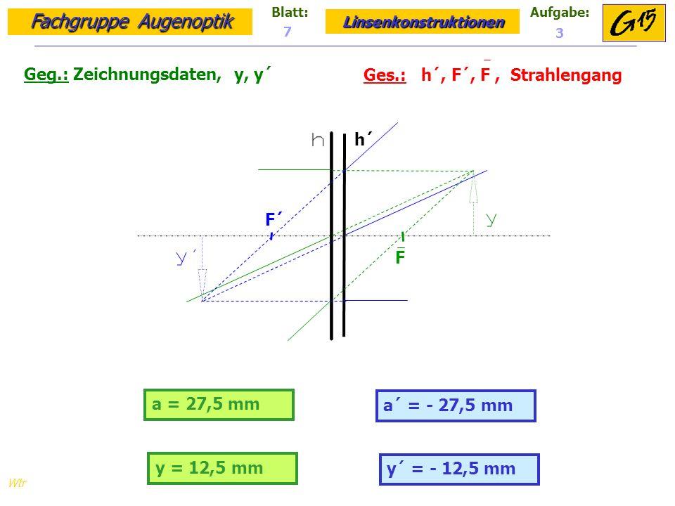 Fachgruppe Augenoptik Linsenkonstruktionen Blatt:Aufgabe: Wtr a = 27,5 mm Geg.: Zeichnungsdaten, y, y´ Ges.: h´, F´, F, Strahlengang a´ = - 27,5 mm 7 3 h´ F´ F y = 12,5 mm y´ = - 12,5 mm