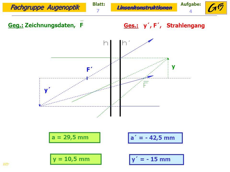 Fachgruppe Augenoptik Linsenkonstruktionen Blatt:Aufgabe: Wtr a = 29,5 mm Geg.: Zeichnungsdaten, F Ges.: y´, F´, Strahlengang a´ = - 42,5 mm 7 4 y = 10,5 mm y´ = - 15 mm y´ F´ y
