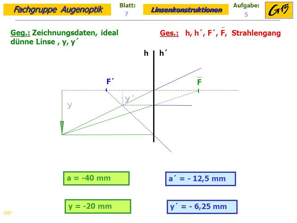Fachgruppe Augenoptik Linsenkonstruktionen Blatt:Aufgabe: Wtr a = -40 mm Geg.: Zeichnungsdaten, ideal dünne Linse, y, y´ Ges.: h, h´, F´, F, Strahlengang a´ = - 12,5 mm 7 5 y = -20 mm y´ = - 6,25 mm h h´ F F´