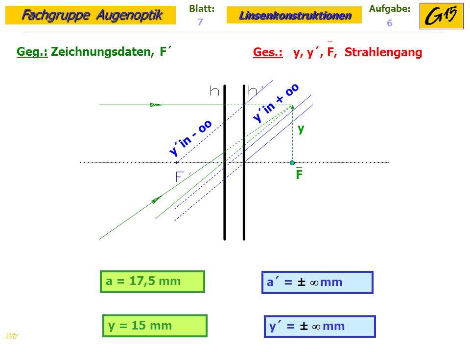 Fachgruppe Augenoptik Linsenkonstruktionen Blatt:Aufgabe: Wtr a = 17,5 mm Geg.: Zeichnungsdaten, F´ Ges.: y, y´, F, Strahlengang a´ = ± mm 7 6 y = 15 mm y´ = ± mm y F y´in - oo y´in + oo