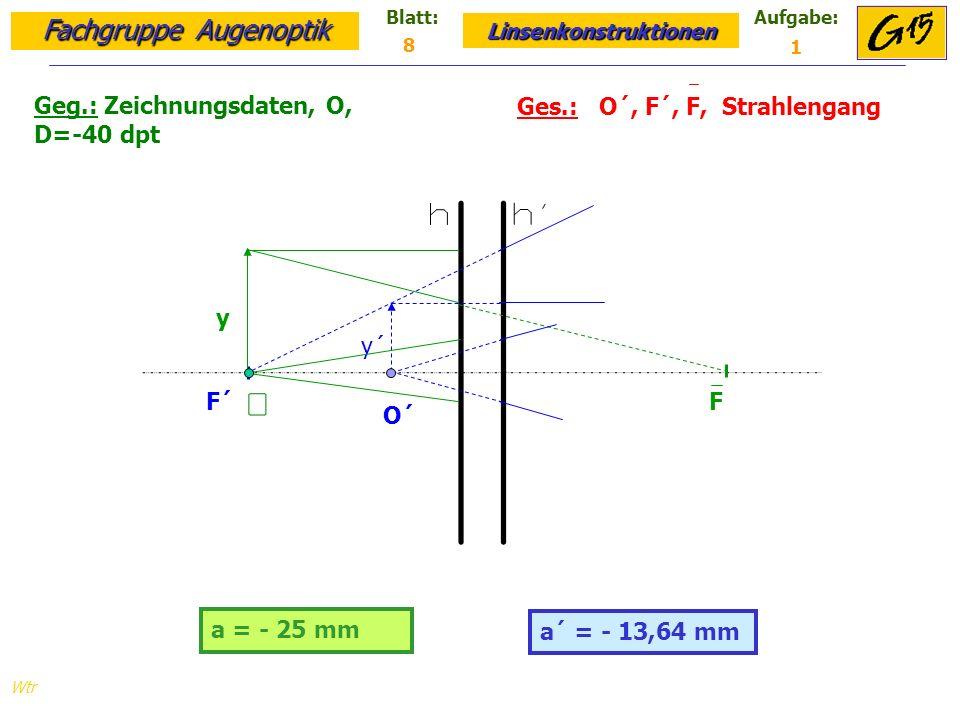 Fachgruppe Augenoptik Linsenkonstruktionen Blatt:Aufgabe: Wtr a = - 25 mm Geg.: Zeichnungsdaten, O, D=-40 dpt Ges.: O´, F´, F, Strahlengang a´ = - 13,64 mm 8 1 F´ F y y´ O´