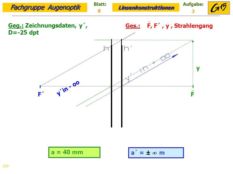 Fachgruppe Augenoptik Linsenkonstruktionen Blatt:Aufgabe: Wtr a = 40 mm Geg.: Zeichnungsdaten, y´, D=-25 dpt Ges.: F, F´, y, Strahlengang a´ = ± m 8 3 F F´ y y´in - oo