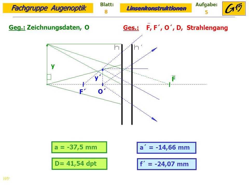 Fachgruppe Augenoptik Linsenkonstruktionen Blatt:Aufgabe: Wtr D= 41,54 dpt Geg.: Zeichnungsdaten, O Ges.: F, F´, O´, D, Strahlengang f´ = -24,07 mm 8 5 a = -37,5 mm a´ = -14,66 mm O´ y y´ F´ F