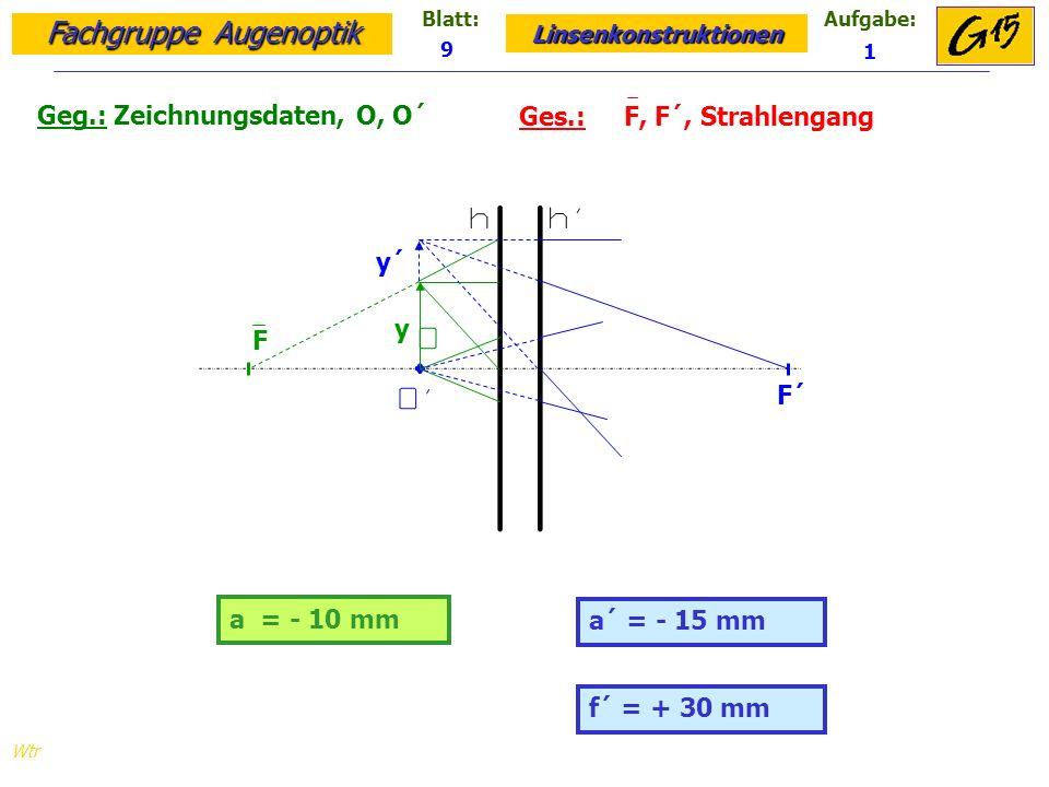 Fachgruppe Augenoptik Linsenkonstruktionen Blatt:Aufgabe: Wtr Geg.: Zeichnungsdaten, O, O´ Ges.: F, F´, Strahlengang 9 1 a = - 10 mm a´ = - 15 mm y y´ F´ F f´ = + 30 mm