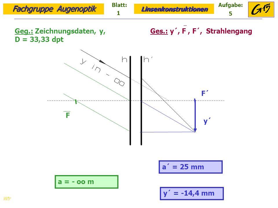 Fachgruppe Augenoptik Linsenkonstruktionen Blatt:Aufgabe: Wtr y = 15 mm Geg.: Zeichnungsdaten, y´, D=-35 dpt Ges.: y, F, F´, y´, Strahlengang y´ = 18,2 mm 8 4 y F´ F y´ a = 5 mm a´ = 6 mm