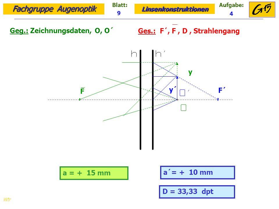 Fachgruppe Augenoptik Linsenkonstruktionen Blatt:Aufgabe: Wtr Geg.: Zeichnungsdaten, O, O´ Ges.: F´, F, D, Strahlengang 9 4 D = 33,33 dpt a = + 15 mm a´= + 10 mm y y´ F´ F