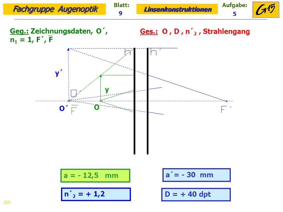 Fachgruppe Augenoptik Linsenkonstruktionen Blatt:Aufgabe: Wtr Geg.: Zeichnungsdaten, O´, n 1 = 1, F´, F Ges.: O, D, n´ 2, Strahlengang 9 5 D = + 40 dpt a = - 12,5 mm a´= - 30 mm n´ 2 = + 1,2 y´ y O´ O