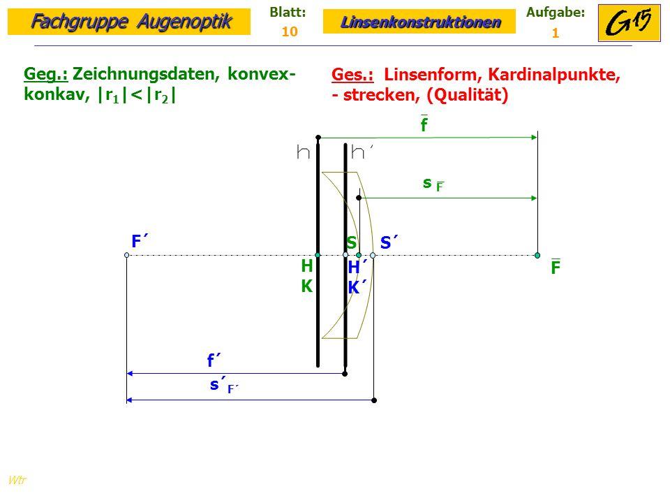 Fachgruppe Augenoptik Linsenkonstruktionen Blatt:Aufgabe: Wtr Geg.: Zeichnungsdaten, konvex- konkav, |r 1 |<|r 2 | Ges.: Linsenform, Kardinalpunkte, - strecken, (Qualität) 10 1 S S´ HKHK H´ K´ F´ F f´ s´ F´ s F f
