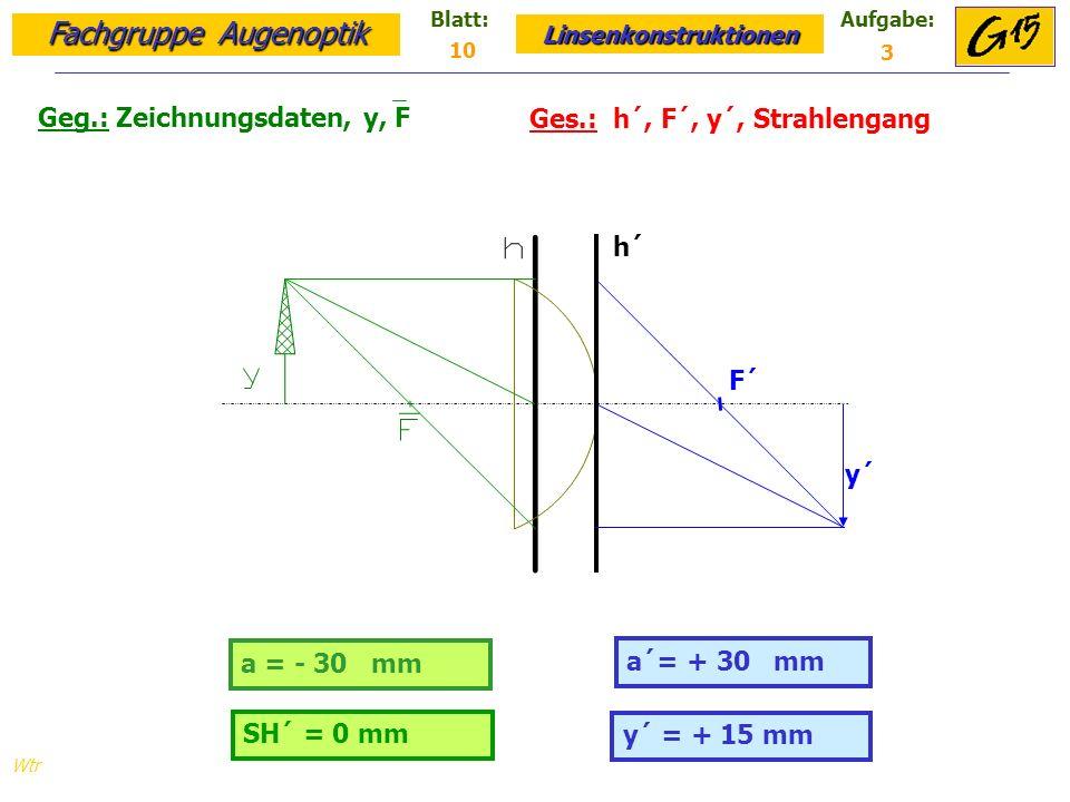 Fachgruppe Augenoptik Linsenkonstruktionen Blatt:Aufgabe: Wtr Geg.: Zeichnungsdaten, y, F Ges.: h´, F´, y´, Strahlengang 10 3 y´ = + 15 mm a = - 30 mm a´= + 30 mm SH´ = 0 mm h´ y´ F´