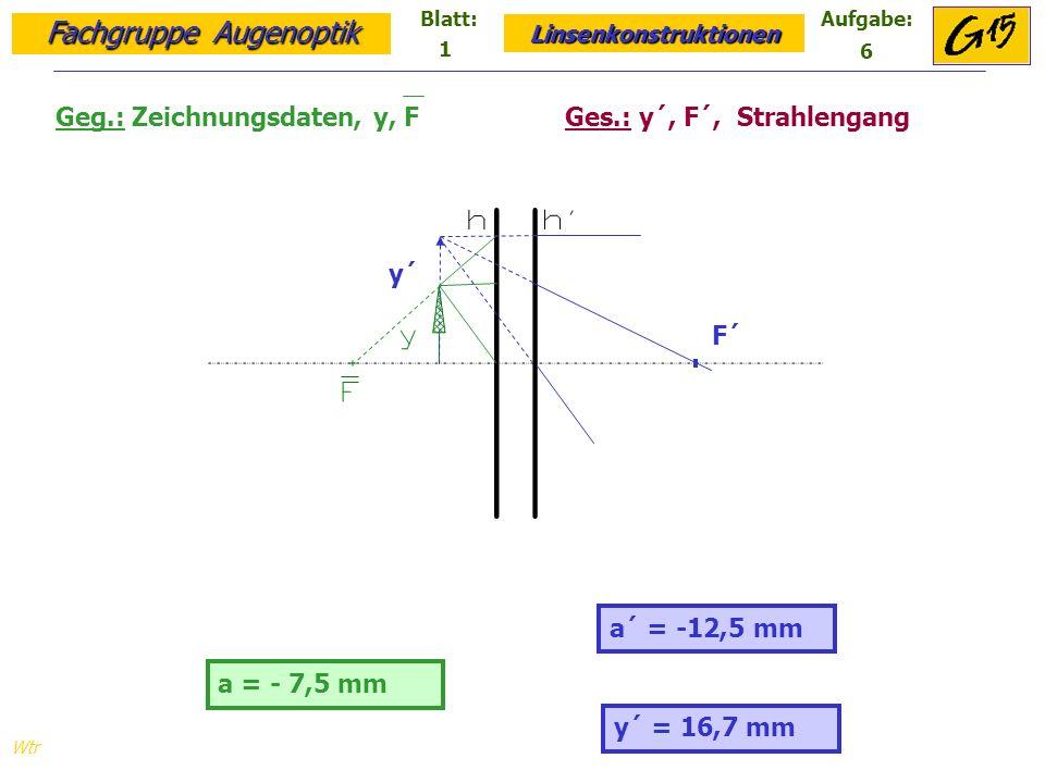 Fachgruppe Augenoptik Linsenkonstruktionen Blatt:Aufgabe: Wtr a = - 7,5 mm a´ = -12,5 mm Geg.: Zeichnungsdaten, y, F Ges.: y´, F´, Strahlengang y´ = 16,7 mm F´ y´ 1 6