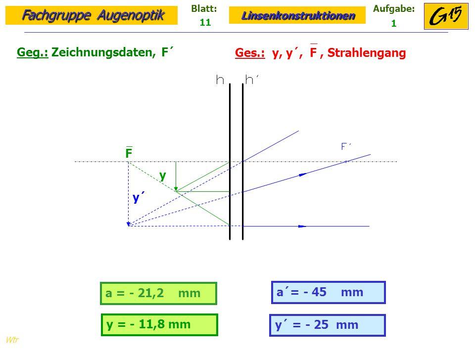 Fachgruppe Augenoptik Linsenkonstruktionen Blatt:Aufgabe: Wtr Geg.: Zeichnungsdaten, F´ Ges.: y, y´, F, Strahlengang 11 1 y´ = - 25 mm a = - 21,2 mm a´= - 45 mm y = - 11,8 mm y´ y F