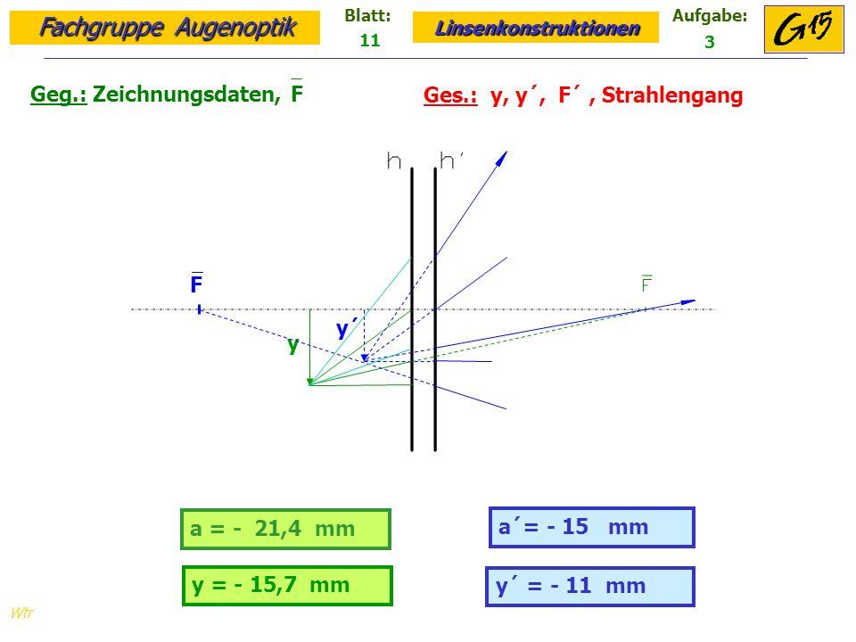 Fachgruppe Augenoptik Linsenkonstruktionen Blatt:Aufgabe: Wtr Geg.: Zeichnungsdaten, F Ges.: y, y´, F´, Strahlengang 11 3 y´ = - 11 mm a = - 21,4 mm a´= - 15 mm y = - 15,7 mm y´ y F