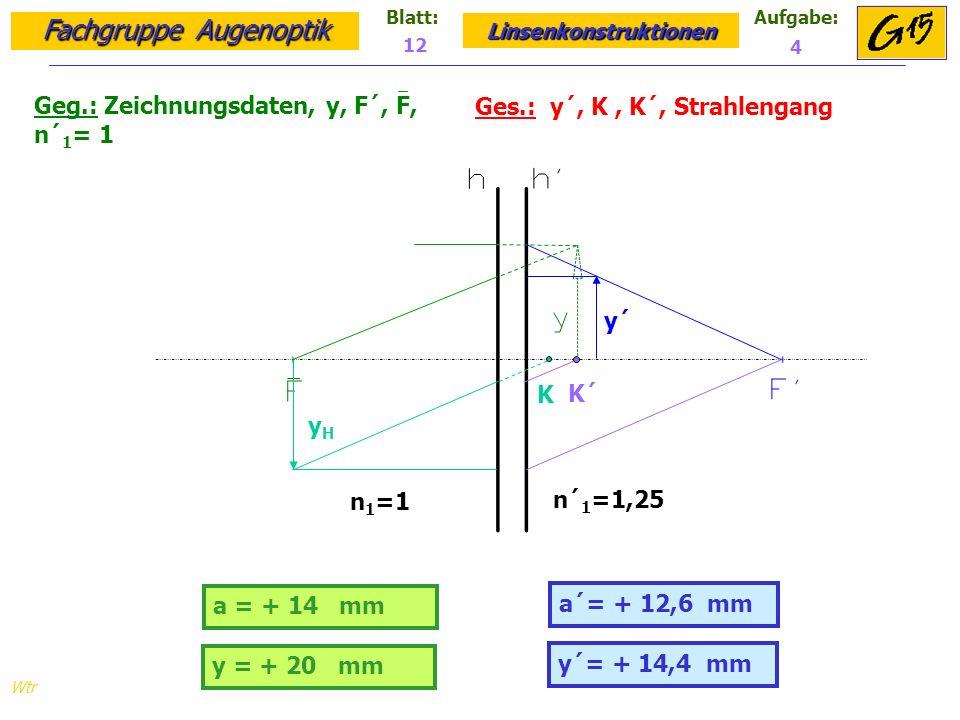 Fachgruppe Augenoptik Linsenkonstruktionen Blatt:Aufgabe: Wtr Geg.: Zeichnungsdaten, y, F´, F, n´ 1 = 1 Ges.: y´, K, K´, Strahlengang 12 4 a = + 14 mm a´= + 12,6 mm y = + 20 mm y´= + 14,4 mm y´ yHyH K K´ n 1 =1 n´ 1 =1,25