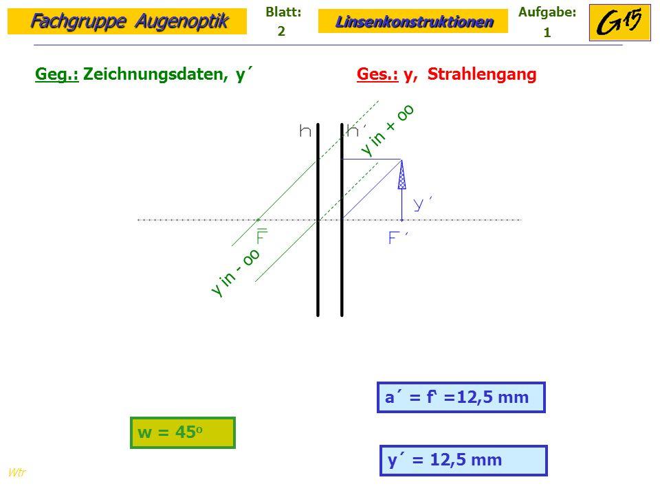 Fachgruppe Augenoptik Linsenkonstruktionen Blatt:Aufgabe: Wtr a = -25 mm a´ = 25 mm Geg.: Zeichnungsdaten, y´, F Ges.: y, F´, Strahlengang y´ = 15 mm F´ y y = -15 mm 2 2