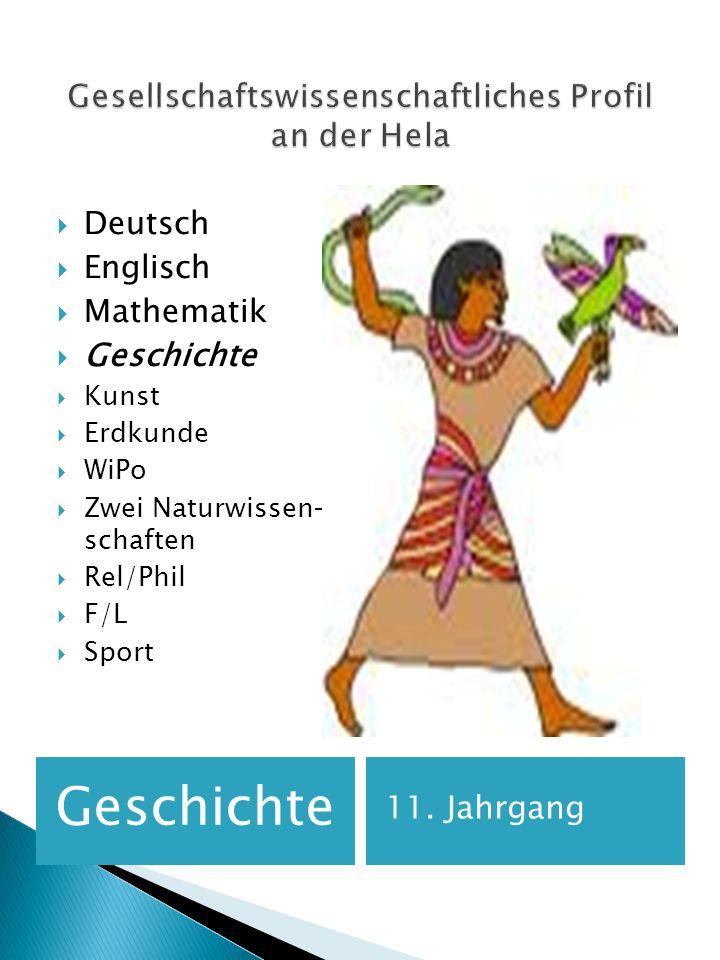 Geschichte 11. Jahrgang Deutsch Englisch Mathematik Geschichte Kunst Erdkunde WiPo Zwei Naturwissen- schaften Rel/Phil F/L Sport