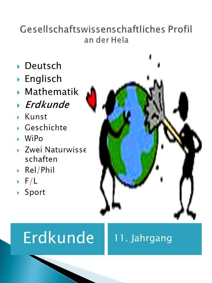 Erdkunde 11. Jahrgang Deutsch Englisch Mathematik Erdkunde Kunst Geschichte WiPo Zwei Naturwissen- schaften Rel/Phil F/L Sport