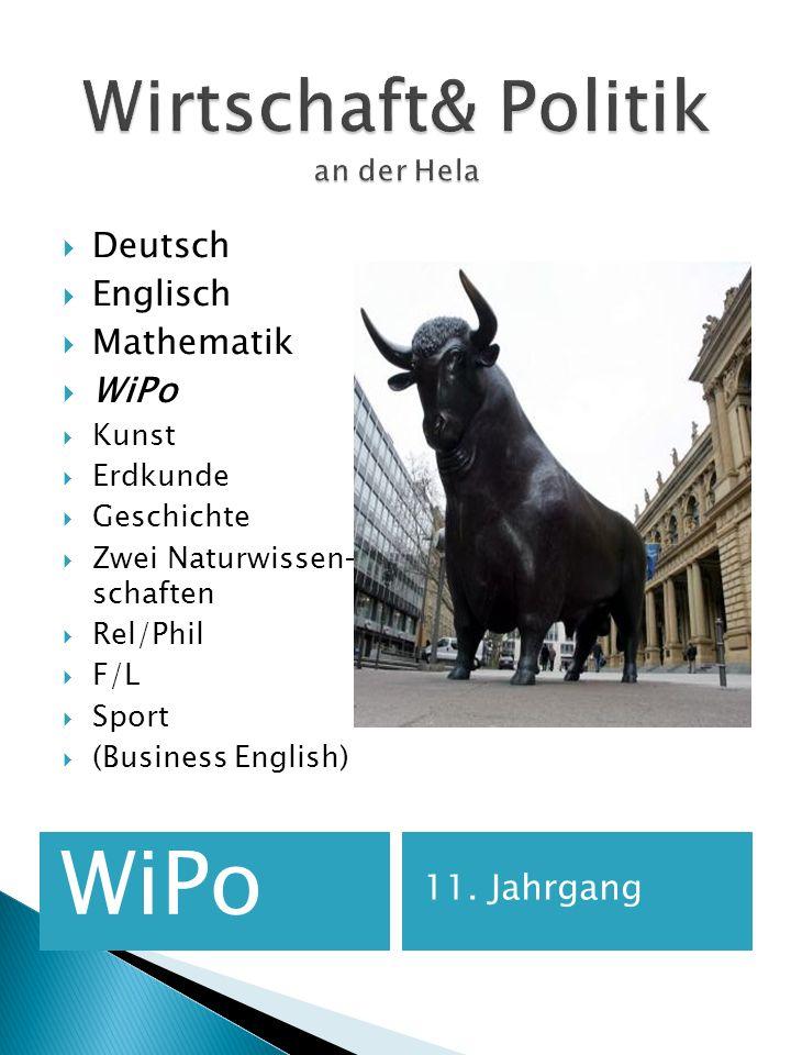 WiPo 11. Jahrgang Deutsch Englisch Mathematik WiPo Kunst Erdkunde Geschichte Zwei Naturwissen- schaften Rel/Phil F/L Sport (Business English)