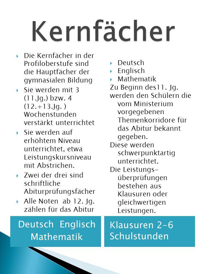 Deutsch Englisch Mathematik Klausuren 2-6 Schulstunden Die Kernfächer in der Profiloberstufe sind die Hauptfächer der gymnasialen Bildung Sie werden m