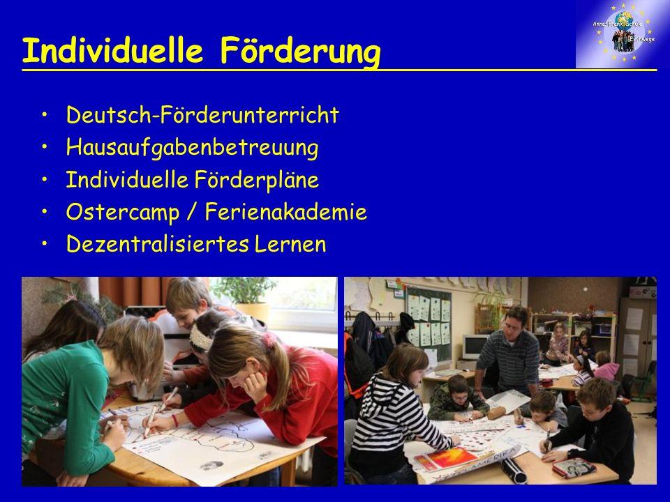 Individuelle Förderung Deutsch-Förderunterricht Hausaufgabenbetreuung Individuelle Förderpläne Ostercamp / Ferienakademie Dezentralisiertes Lernen
