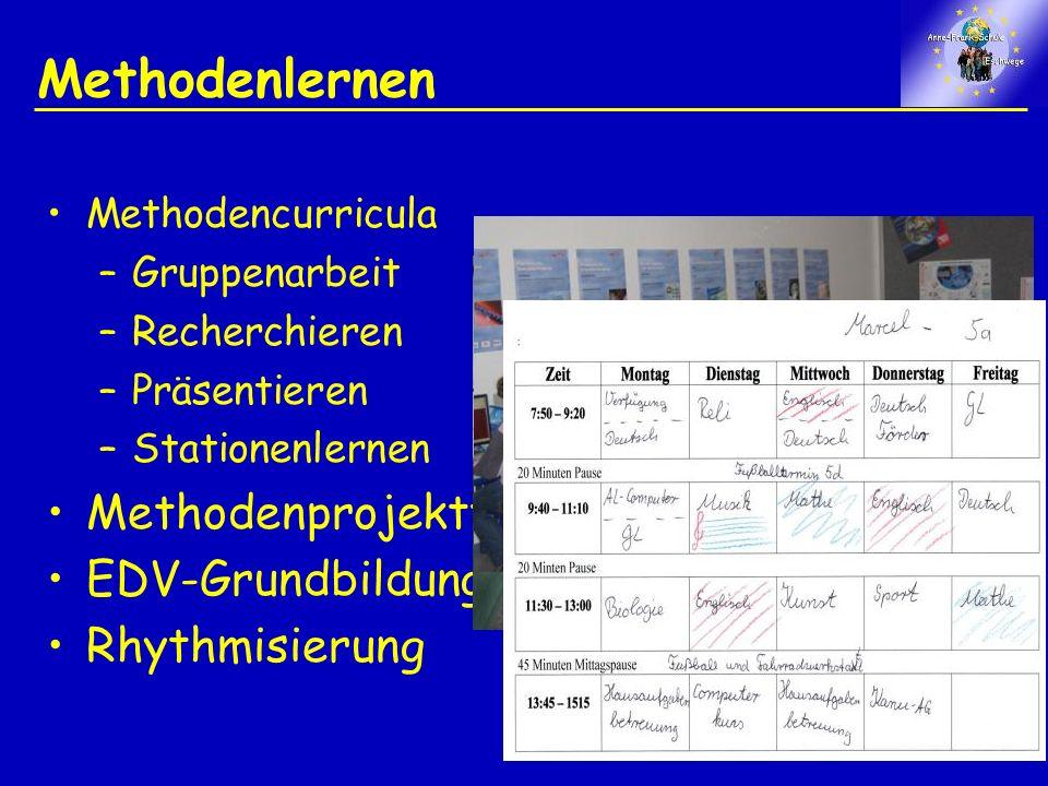 Methodenlernen Methodencurricula –Gruppenarbeit –Recherchieren –Präsentieren –Stationenlernen Methodenprojekttage EDV-Grundbildung Rhythmisierung