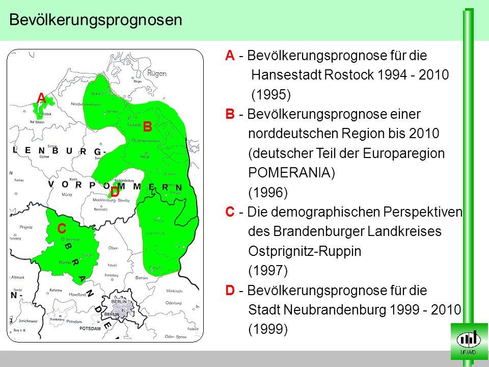 Bevölkerungsprognosen A - Bevölkerungsprognose für die Hansestadt Rostock 1994 - 2010 (1995) B - Bevölkerungsprognose einer norddeutschen Region bis 2