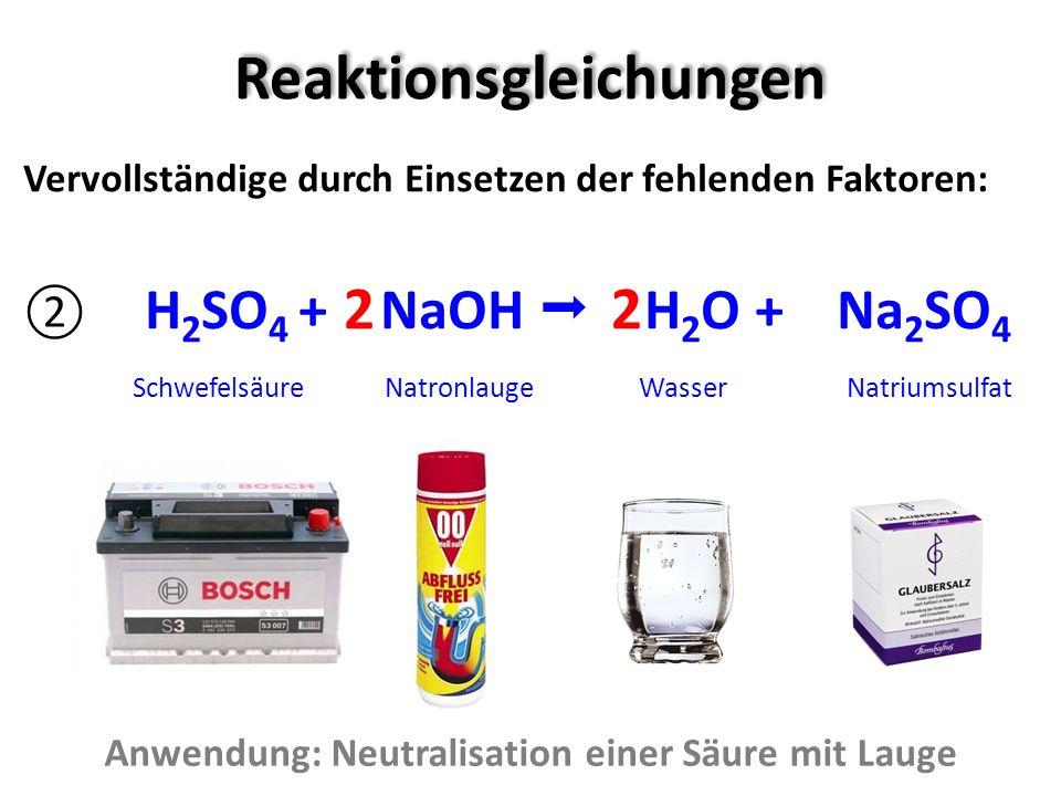 Reaktionsgleichungen Vervollständige durch Einsetzen der fehlenden Faktoren: H 2 SO 4 + NaOH H 2 O + Na 2 SO 4 Schwefelsäure Natronlauge Wasser Natriu