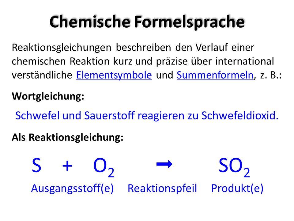 Chemische Formelsprache Reaktionsgleichungen beschreiben den Verlauf einer chemischen Reaktion kurz und präzise über international verständliche Eleme