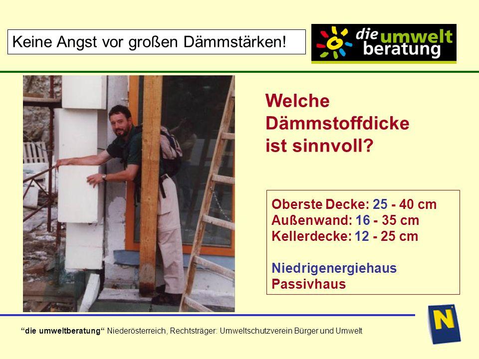 die umweltberatung Niederösterreich, Rechtsträger: Umweltschutzverein Bürger und Umwelt Bauform / Kompaktheit (130m² Wohnutzfl.) Gleiche Dämmung (Niedrigenergiehaus-Standard) Ausgeb.
