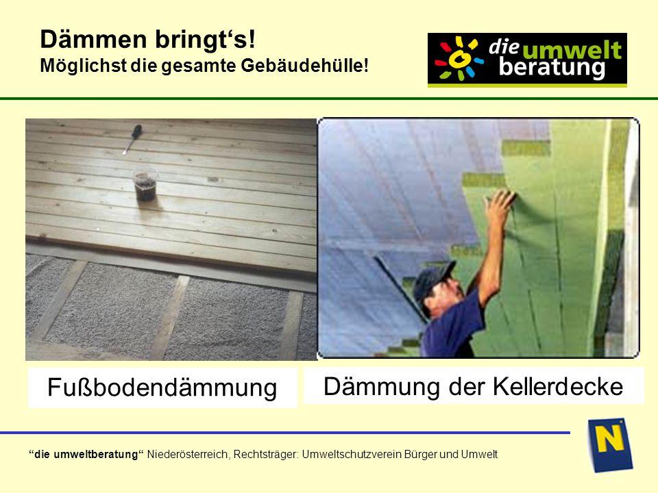 die umweltberatung Niederösterreich, Rechtsträger: Umweltschutzverein Bürger und Umwelt Althaussanierung und Modernisierung haben das größte Energieeinsparpotential.