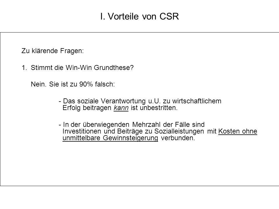 I. Vorteile von CSR Zu klärende Fragen: 1. Stimmt die Win-Win Grundthese? Nein. Sie ist zu 90% falsch: - Das soziale Verantwortung u.U. zu wirtschaftl