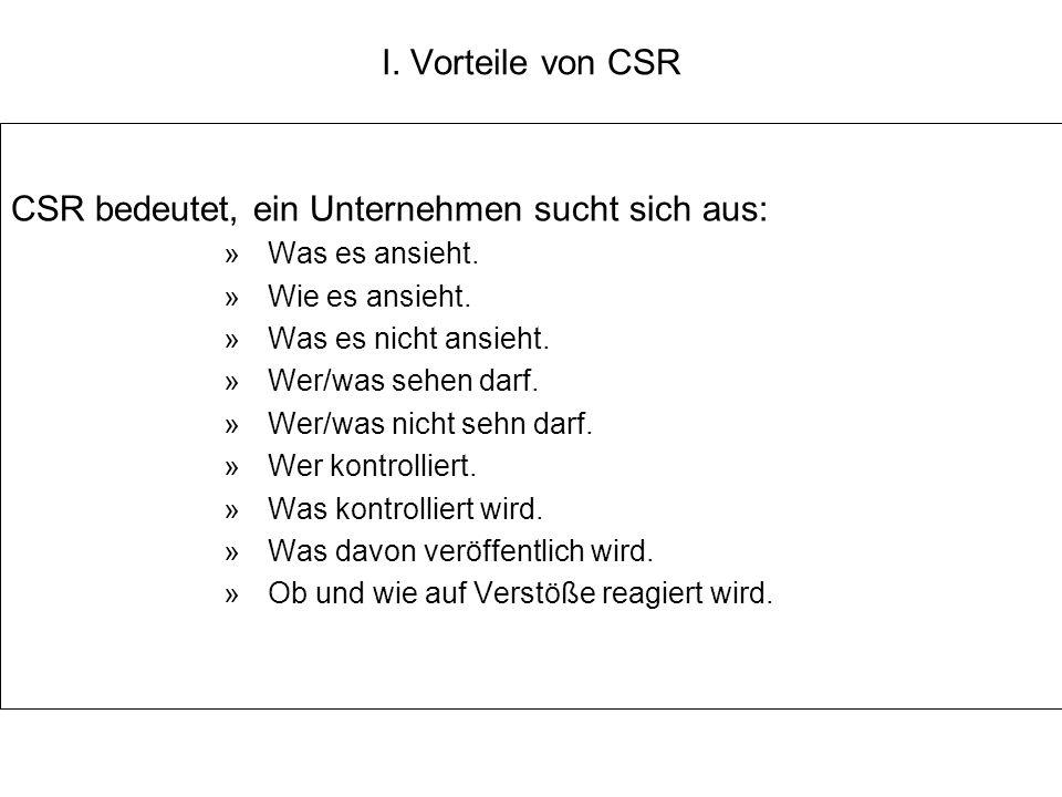 I. Vorteile von CSR CSR bedeutet, ein Unternehmen sucht sich aus: »Was es ansieht. »Wie es ansieht. »Was es nicht ansieht. »Wer/was sehen darf. »Wer/w