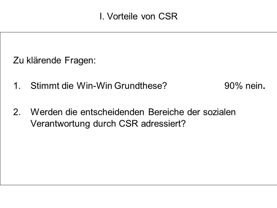 I. Vorteile von CSR Zu klärende Fragen: 1. Stimmt die Win-Win Grundthese?90% nein. 2. Werden die entscheidenden Bereiche der sozialen Verantwortung du