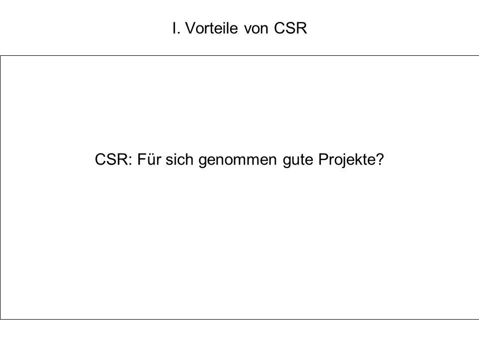 I. Vorteile von CSR CSR: Für sich genommen gute Projekte?