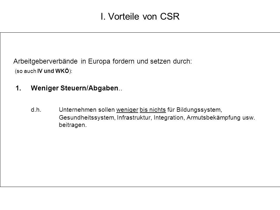 I. Vorteile von CSR Arbeitgeberverbände in Europa fordern und setzen durch: (so auch IV und WKÖ): 1. Weniger Steuern/Abgaben.. d.h. Unternehmen sollen