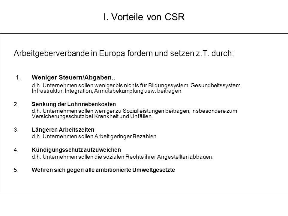 I. Vorteile von CSR Arbeitgeberverbände in Europa fordern und setzen z.T. durch: 1. Weniger Steuern/Abgaben.. d.h. Unternehmen sollen weniger bis nich