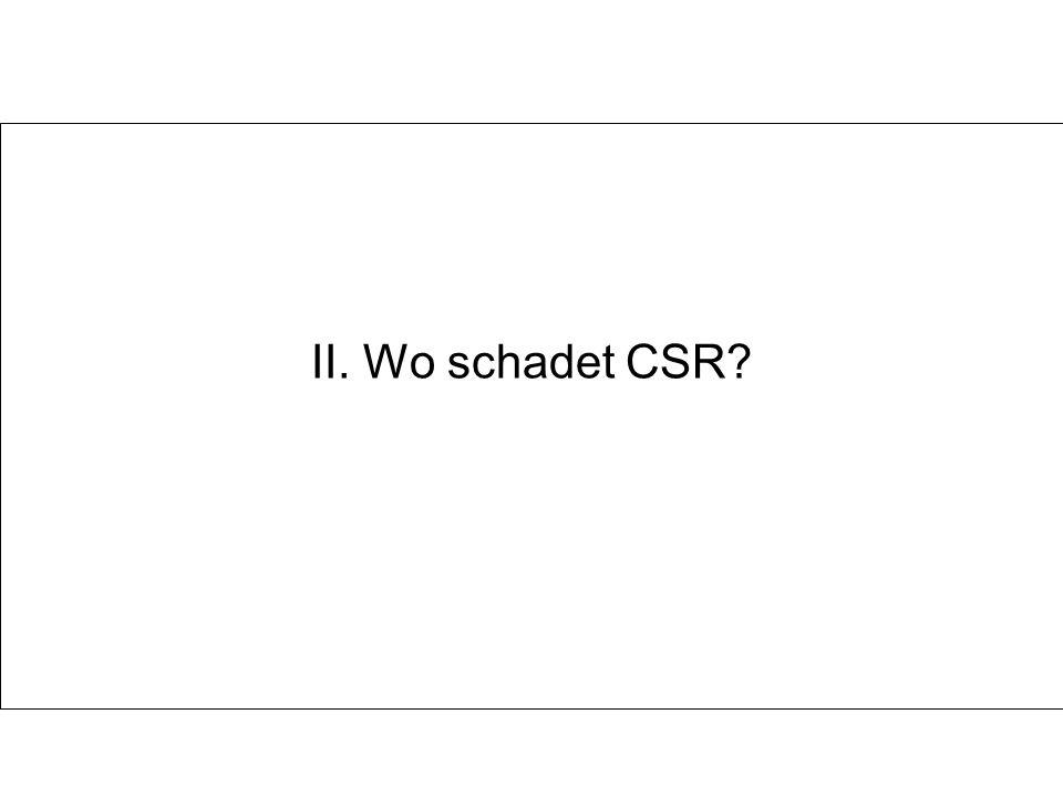 II. Wo schadet CSR?