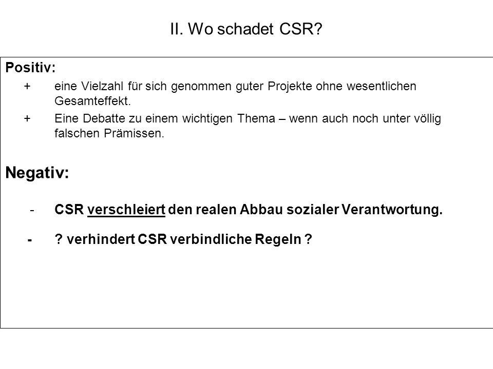 II. Wo schadet CSR? Positiv: +eine Vielzahl für sich genommen guter Projekte ohne wesentlichen Gesamteffekt. +Eine Debatte zu einem wichtigen Thema –