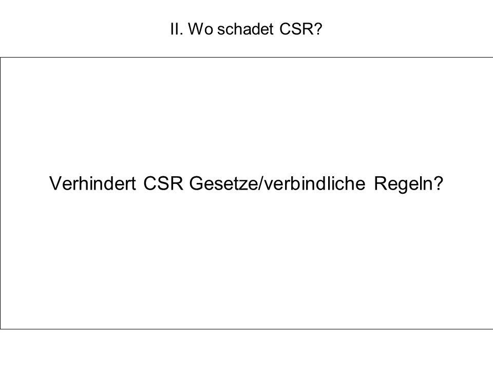 II. Wo schadet CSR? Verhindert CSR Gesetze/verbindliche Regeln?