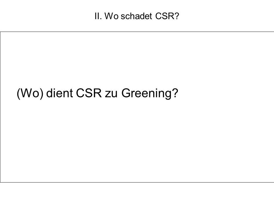 II. Wo schadet CSR? (Wo) dient CSR zu Greening?