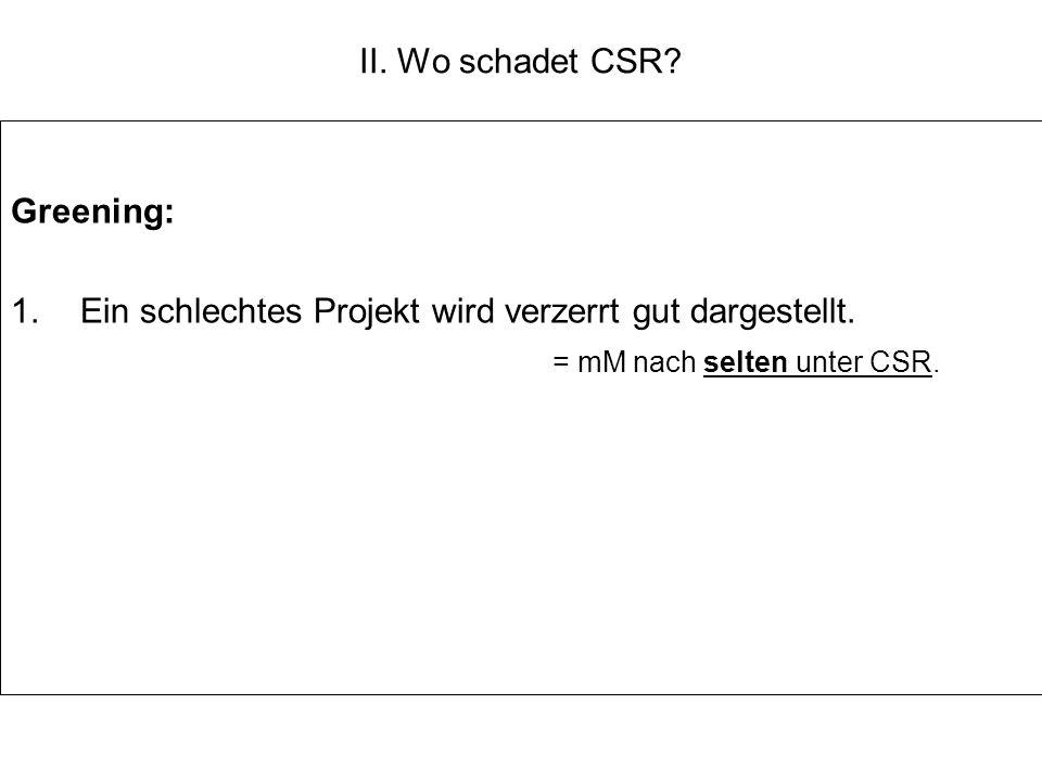 II. Wo schadet CSR? Greening: 1.Ein schlechtes Projekt wird verzerrt gut dargestellt. = mM nach selten unter CSR.