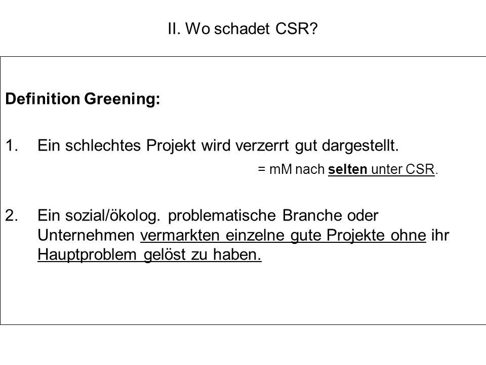 II. Wo schadet CSR? Definition Greening: 1.Ein schlechtes Projekt wird verzerrt gut dargestellt. = mM nach selten unter CSR. 2.Ein sozial/ökolog. prob