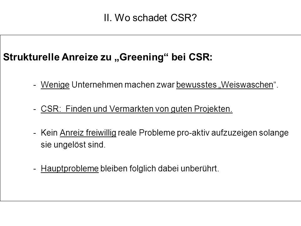 II. Wo schadet CSR? Strukturelle Anreize zu Greening bei CSR: -Wenige Unternehmen machen zwar bewusstes Weiswaschen. -CSR: Finden und Vermarkten von g