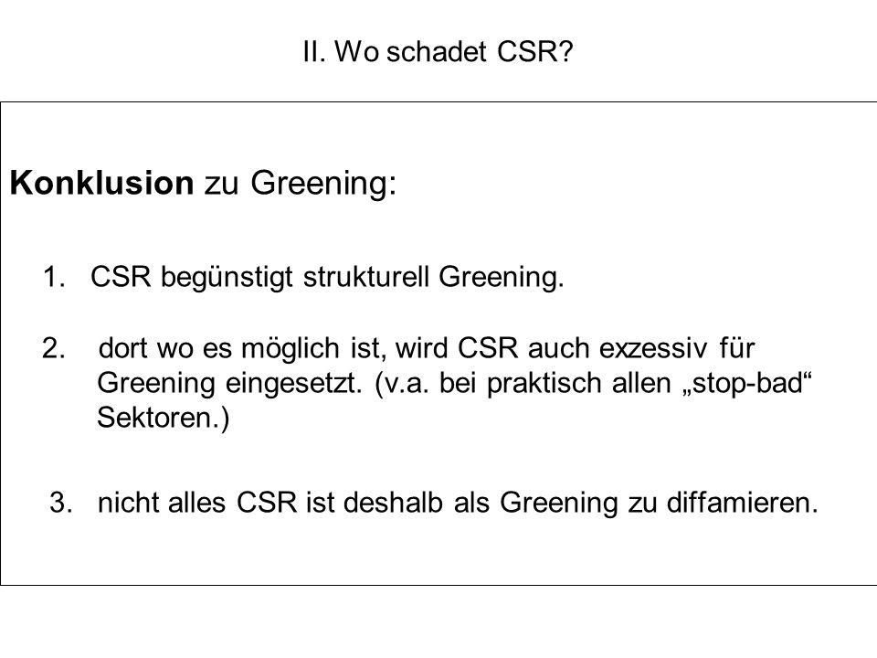 II. Wo schadet CSR? Konklusion zu Greening: 1. CSR begünstigt strukturell Greening. 2. dort wo es möglich ist, wird CSR auch exzessiv für Greening ein