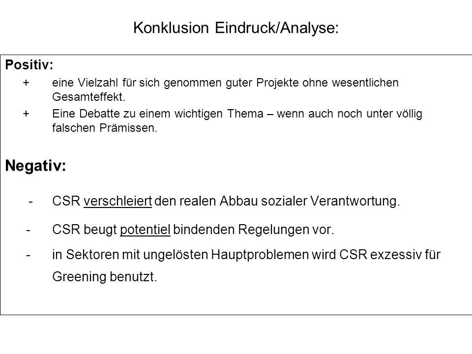 Konklusion Eindruck/Analyse: Positiv: +eine Vielzahl für sich genommen guter Projekte ohne wesentlichen Gesamteffekt. +Eine Debatte zu einem wichtigen