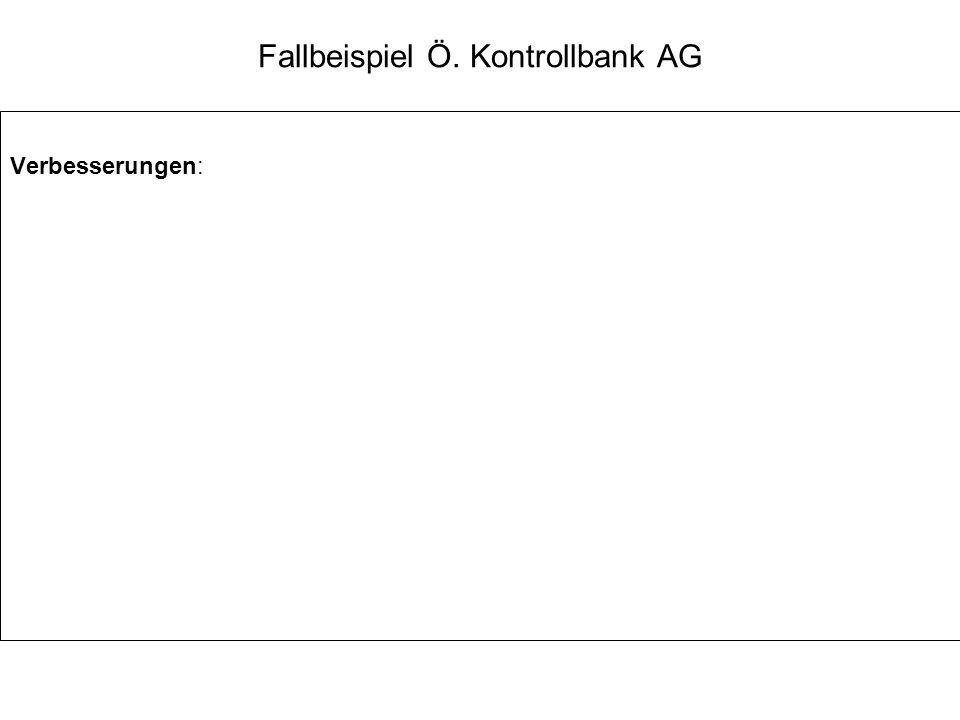 Fallbeispiel Ö. Kontrollbank AG Verbesserungen: