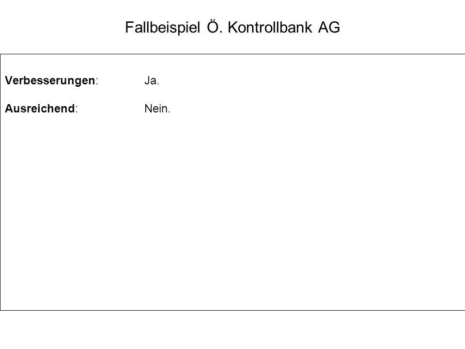 Fallbeispiel Ö. Kontrollbank AG Verbesserungen:Ja. Ausreichend:Nein.