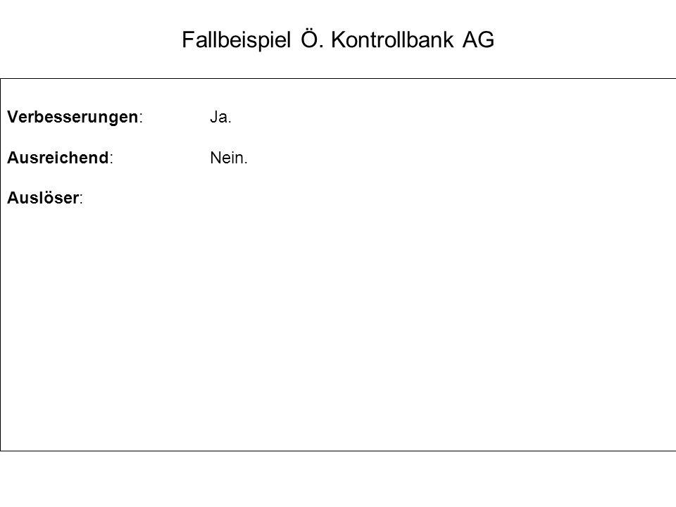Fallbeispiel Ö. Kontrollbank AG Verbesserungen:Ja. Ausreichend:Nein. Auslöser: